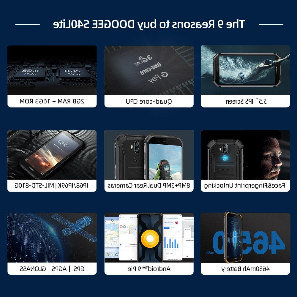 IP68 DOOGEE S40 Rugged 5.5inch Display 4650mAh Fingerprint Quad 16GB Android 9.0