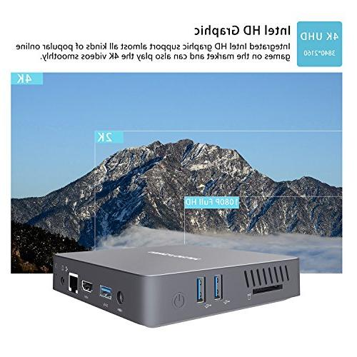N34 Fanless Mini PC, 6GB+64GB, Celeron 500 4K/ LAN/ 2.4G+5.8G WiFi/BT SSD/HDMI&VGA