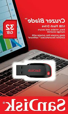 NEW SanDisk Cruzer 32GB BLADE USB Flash Pen Drive SDCZ50-032