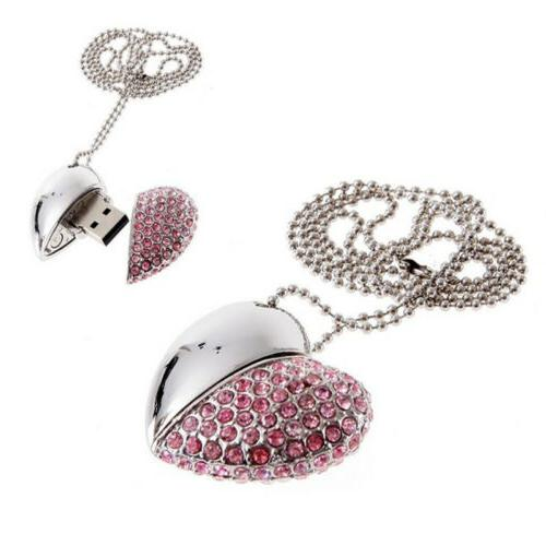 Pink Crystal Heart 16GB USB2.0 Drive Real Memory Stick