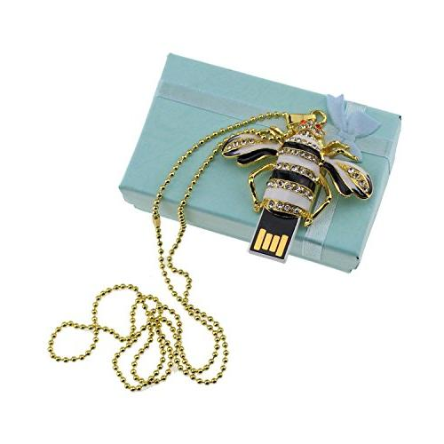 eMart Bee Pendant Drives 8GB Pen Chain Gold