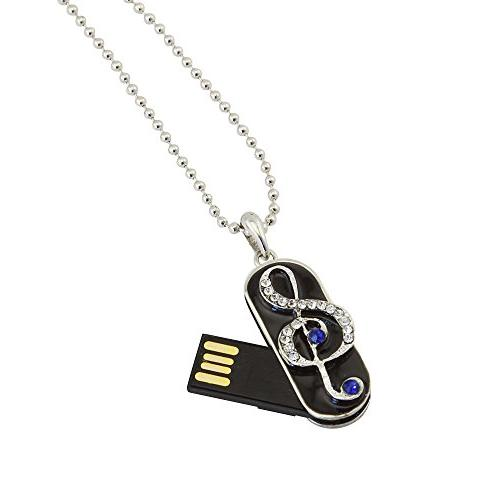 ShinyDiamond Flash Drive 32GB, FIRSTMEMORY Jewelry Flash 2.0 Drive with Necklace