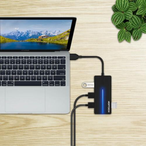 Kootion 4-USB 3.0 Ports Type-A Cable With Light For