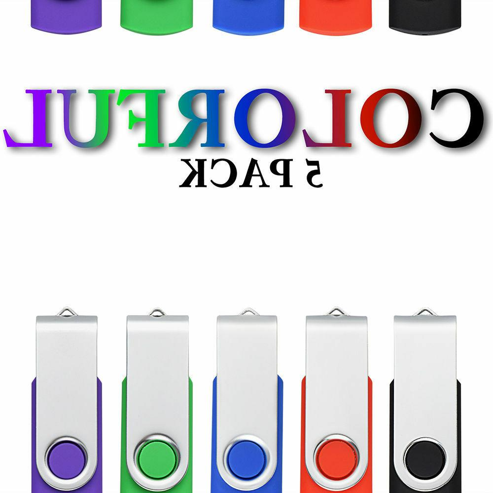 5 Pack 2GB Capacity Rotating Enough Memory Stick USB 2.0 Fla