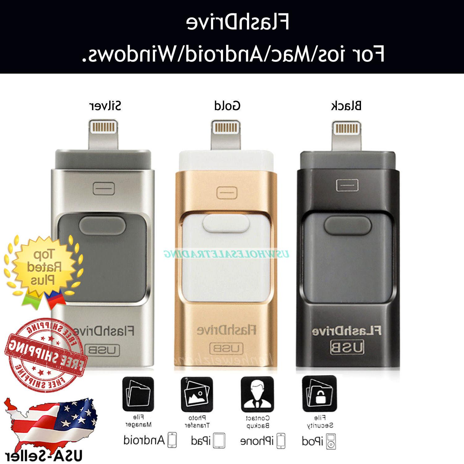 US i-Flash Drive USB Memory Stick HD U-Disk 3 in 1 for ios i