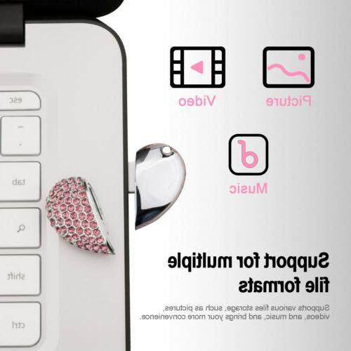 USB Crystal Diamond Heart Memory Storage