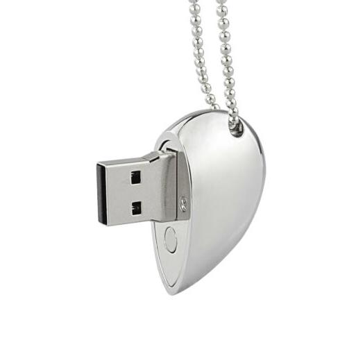 USB Flash Drive 16G/32G/64G Crystal Heart Necklace Memory