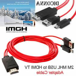 MHL Micro USB to HDMI 1080P HD TV Cable Adapter 2M For Unive