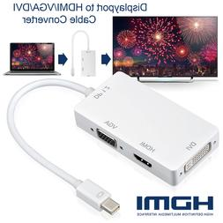 3 In 1 Thunderbolt Mini Display Port DP To HDMI DVI VGA Adap