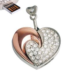 LHN 8GB Moon Heart Necklace Pendant USB 2.0 Flash Drive with