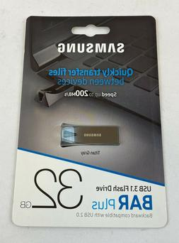 New SAMSUNG 32GB BAR Plus USB 3.1 Flash Drive, Speed Up to 2