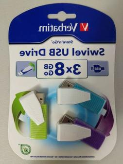 NEW Verbatim 8GB Swivel USB Flash Drive - 3pk - Blue, Green,