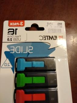 New Emtec Slide 3-Pack Flash Drive USB 2.0 16 GB Blue Green