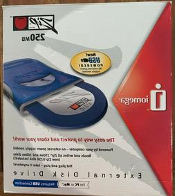 New Iomega ZIP 250 MB External USB Powered Disk Drive    Ope
