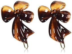 Caravan Rose And Leaf On A Wire Barrettes Pair