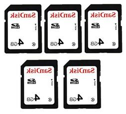 SanDisk Lot of 5 SD card 4gb class 4 Secure digital memory a