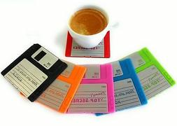Set of 6 Colorful Floppy Disk Coasters - Perfect For Compute