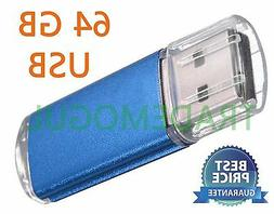 Sleek BLUE 64GB BRAND NEW USB 2.0 Thumb Pen Flash Drive Memo