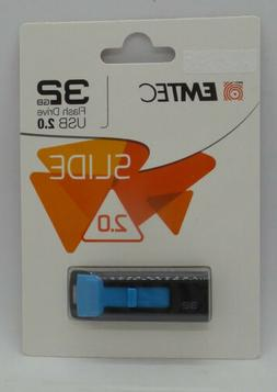 Emtec Slide 32GB USB 2.0 Flash Drive Blue Free Shipping