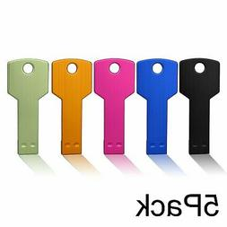 JUANWE 5 Pack 16GB USB Flash Drive USB 2.0 Metal Thumb Drive