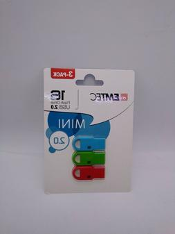 USB 2.0 16GB ~ 3-PACK EMTEC MINI Flash Drives ~ Windows, Mac