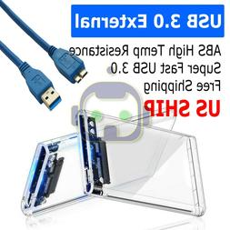 "USB 3.0 2.5"" SATA Hard Drive External Enclosure HDD Clear Ca"