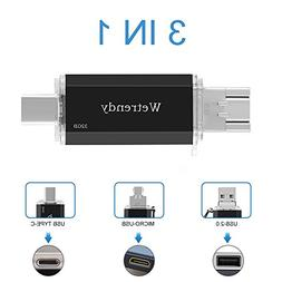 USB C Drive 32GB Phone USB Drive,100% Real Capacity 3 IN 1