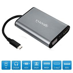 USB C Hub,Beeasy Type C Adapter 3.1 with Power Delivery Char