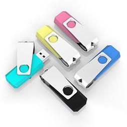 TOPESEL 5 Pack 4GB USB Flash Drives Thumb Drives Memory Stic