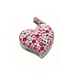 Enfain 16GB USB Stick Pendant - Heart Design - Crystal embed