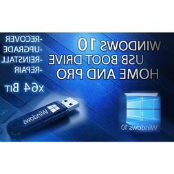 Windows 10 USB Boot Drive Home Pro Upgrade Repair Re-Install