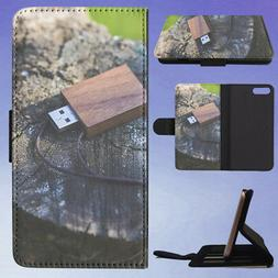 WOODEN USB FLASH DRIVE FLIP WALLET CASE FOR APPLE IPHONE PHO