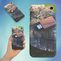 WOODEN USB FLASH DRIVE HARD BACK CASE FOR APPLE IPHONE PHONE